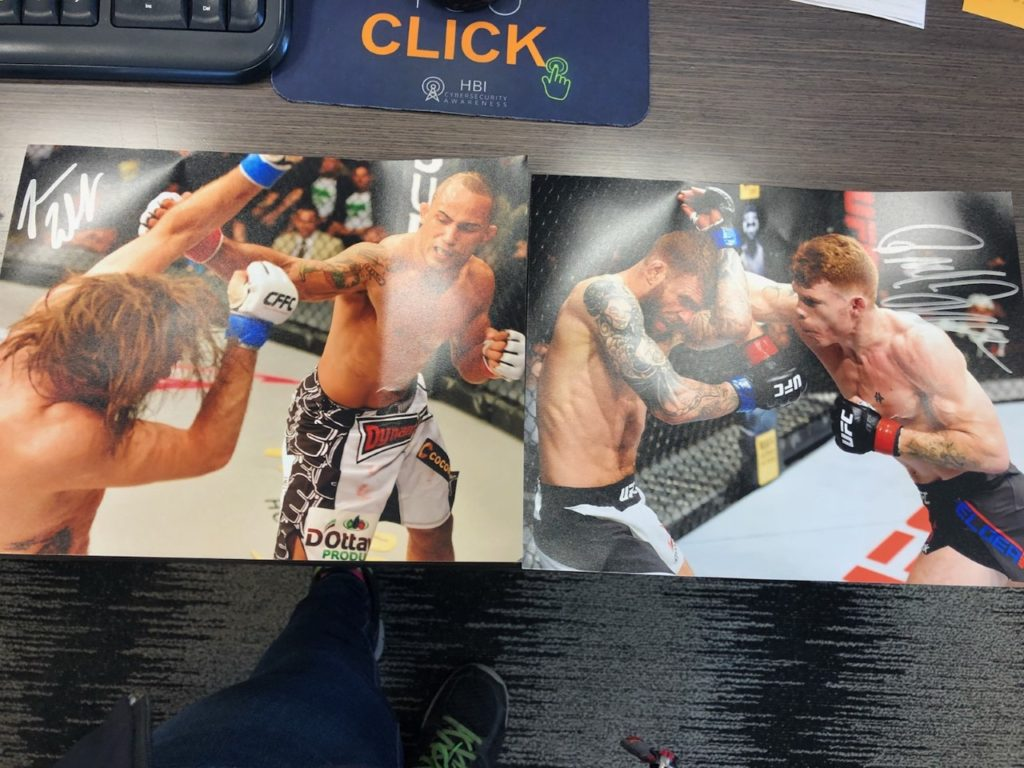 autoghraphed Photos from Toy Quest 101 Paul Felder and Jonavin Webb - UFC - MMA Fight Radio