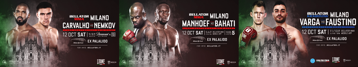 MMA Fight radio BELLATOR MILAN UPDATED CARD AND U.S. BROADCAST DETAILS CONFIRMED FOR SATURDAY, OCTOBER 12
