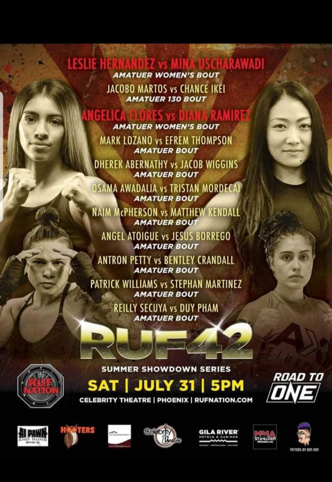 Interviews with Angelica Flores fighting July 31 Ruf Nation along with her Coaches from Jab Fitness