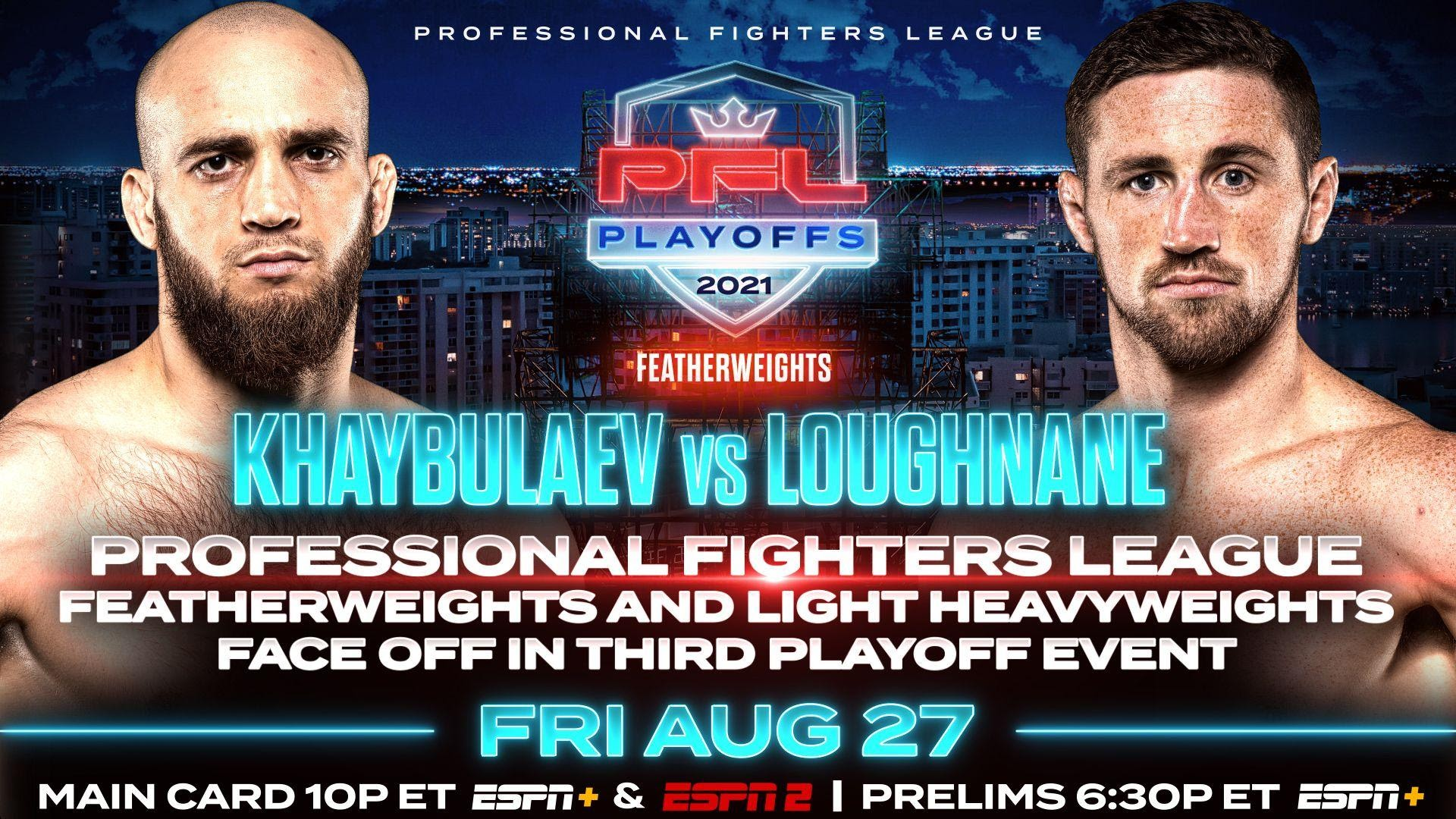 PROFESSIONAL FIGHTERS LEAGUE FEATHERWEIGHTS AND LIGHT HEAVYWEIGHTS FACE OFF IN THIRD PLAYOFF EVENT ON FRIDAY, AUGUST 27
